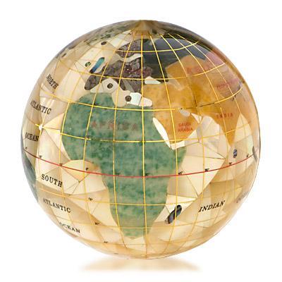 of pearl cut gemstone globe paperweight