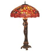 Nude Lady - Red Dragonfly Shade Tiffany Lamp