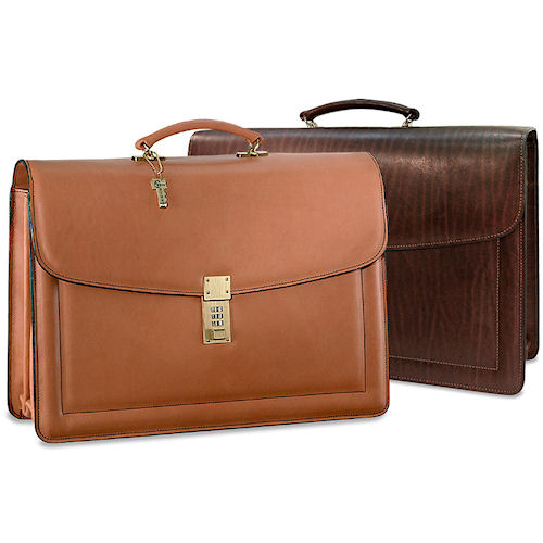 georges belting combination lock leather briefcase 9004