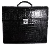 Jack Georges Croco Double Gusset Flapover Leather Briefcase