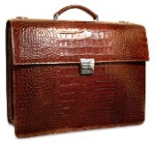 Jack Georges Croco Triple Gusset Flapover Leather Briefcase