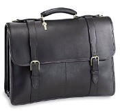 University Oversized Three Gusset Flap Leather Briefcase-Buckle Straps