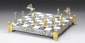Cowboys vs. Indians Gold and Silver Themed Chess Set