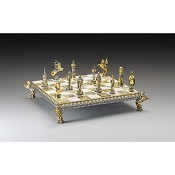 Fight Between Medioevo Soldiers Gold and Silver Themed Chess Set