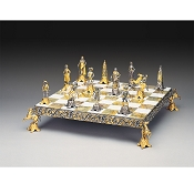 Luigi XIV Re Sole Secolo XVII Gold and Silver Themed Chess Set