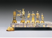 Veneziani Medioevali Gold and Silver Themed Chess Pieces
