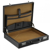 Dalvey Standard 90 Leather Attache Case - Black Caviar