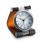 Dalvey Cavesson Leather Travel Alarm Clock -White