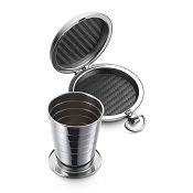 Dalvey Exlplorer Pocket Cup - Push-Button Stainless Steel Case