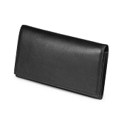 Fedon 1919 Classica P-FOGLIO-D-4 Large Black Leather Clutch Wallet with Coin Pocket