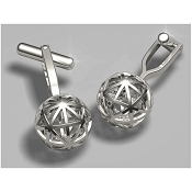 FdV Sterling Silver Cuffllinks - Sphere with Triangles
