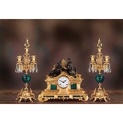 Imperial Falling in Love Mantel Clock & Candelabras - Malachite