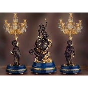 Imperial Cupido's World Mantel Clock & Candelabras - Lapis