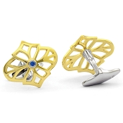Jack Row Jaali 18ct Yellow & White Gold and Blue Sapphire Cufflinks
