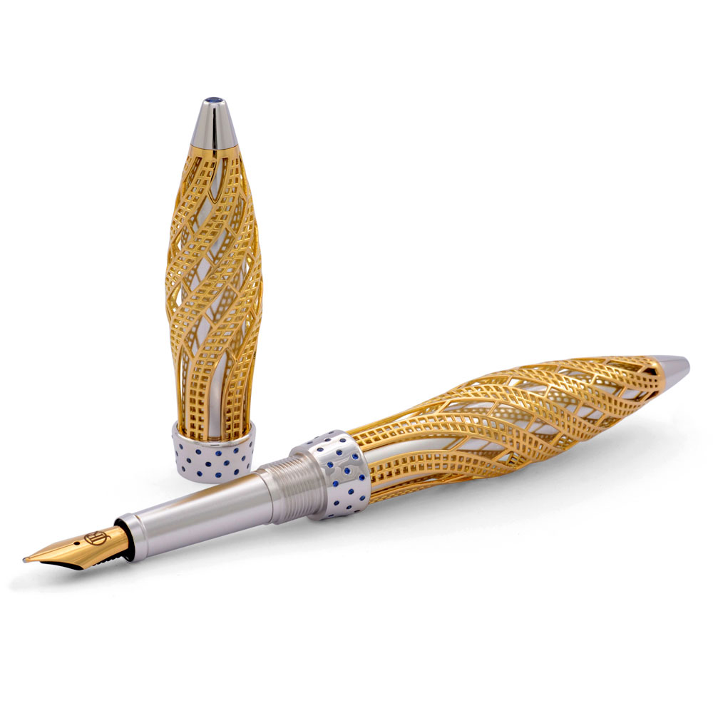 Jack Row Limited Edition Architect 18ct Yellow Gold and Sapphire Fountain  Pen is a limited edition of 88.