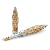 Jack Row Architect Fountain Pen: 18k White Gold - Diamonds