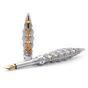 Jack Row Jaali Sterling Silver and Petrol Blue Diamond Pens