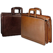 Jack Georges Belting Double Gusset Top Zip Leather Briefcase