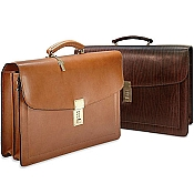 Jack Georges Belting Slim Combination Lock Leather Briefcase #9003