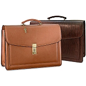 Jack Georges Belting Triple Gusset Flap Over Leather Briefcase