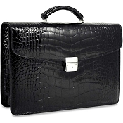 Jack Georges American Alligator Single Gusset Flapover Briefcase