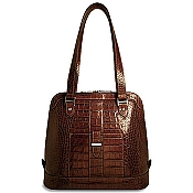 Jack Georges Croco Paulina Dome Leather Tote Bag