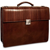 Jack Georges Monserrate Leather Double Gusset Flapover Briefcase