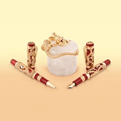 Montegrappa Dragon Bruce Lee 18k Gold Pen Set - White Diamonds