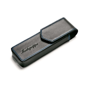 Montegrappa Two Pen Pouch - Black Leather Blue Stitches