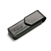 Montegrappa Two Pen Pouch - Black Leather Black Stitches