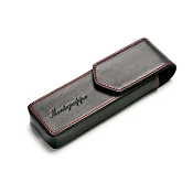 Montegrappa Two Pen Pouch - Black Leather Red Stitches