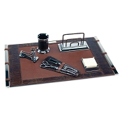 Paolo Guzzetta Deluxe Leather Desk Set - Terra Mini Crocodile