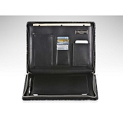 Paolo Guzzetta Leather Travel Desk - Black Metallic Crocodile