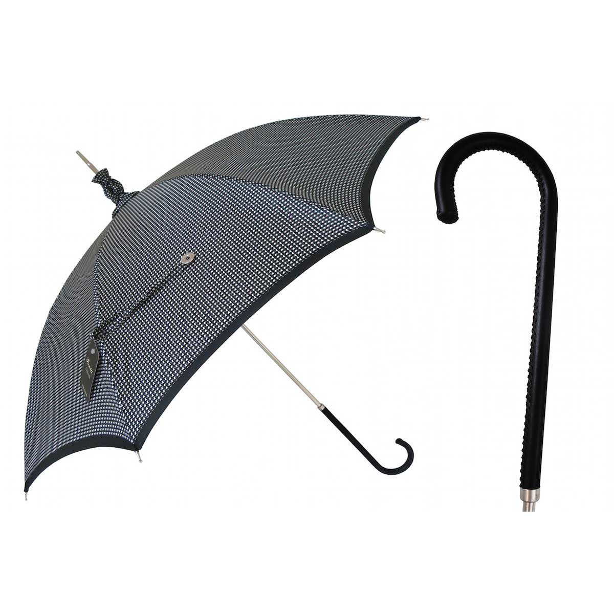pasotti ombrelli pied de poule parasol women 39 s umbrella black leather handle. Black Bedroom Furniture Sets. Home Design Ideas