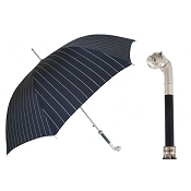 Pasotti Ombrelli Silver Bulldog Pinstripe Black Men's Umbrella