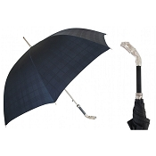 Pasotti Ombrelli Silver Greyhound Black Tartan Men's Umbrella