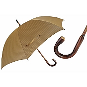Pasotti Ombrelli Chestnut Shaft Pinstripe Tan Men's Umbrella