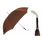 Pasotti Ombrelli Silver Greyhound Pinstripe Brown Men's Umbrella