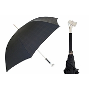 Pasotti Ombrelli Silver Labrador Black Plaid Men's Umbrella