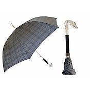 Pasotti Ombrelli Silver Serpent Head Tartan Blue Men's Umbrella