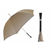 Pasotti Ombrelli Black Lacquer Silver Handle Beige Men's Umbrella