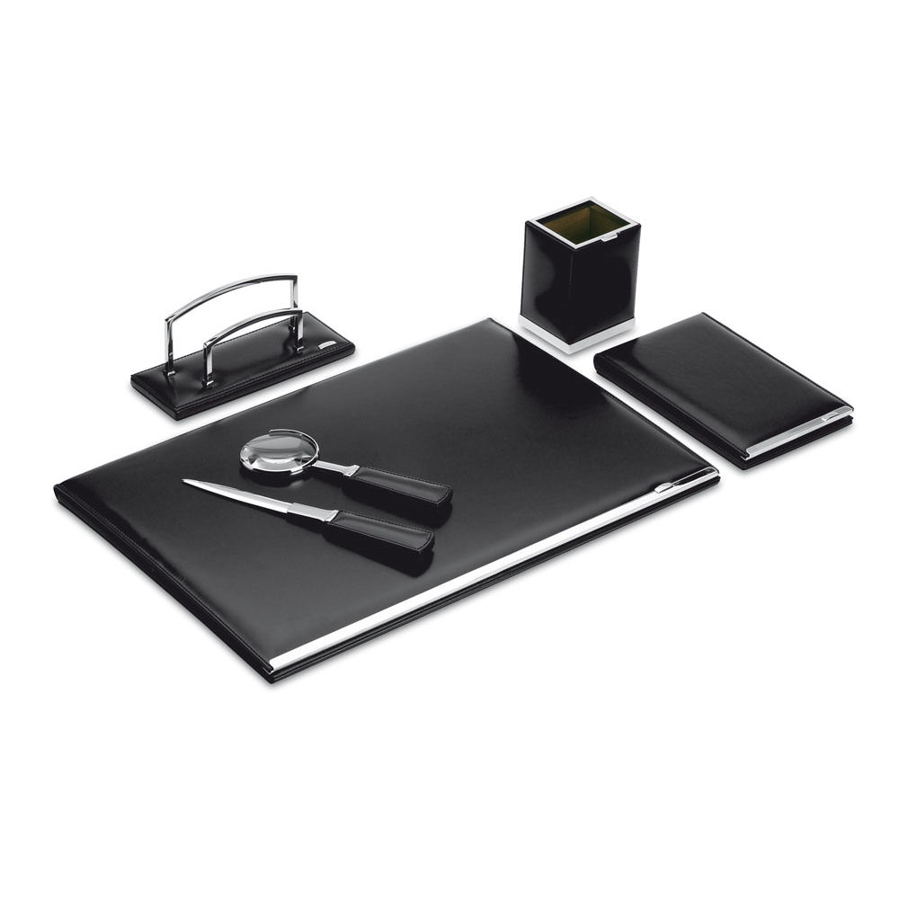 Pineider 1949 Leather 5 Piece Desk Set With Um Pad Is Available In Black Brown Or Green Luxury Calfskin Renowned As A Classic