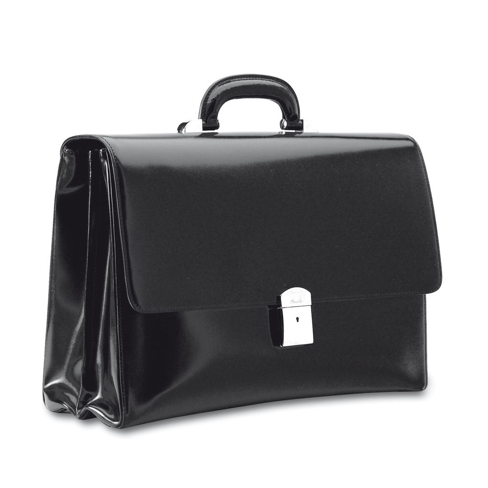 Pineider Briefcases, Power Elegance - Double Gusset Leather Briefcase