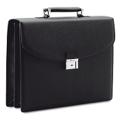 Pineider City Chic Veau Graine Calf Leather Briefcase - Double Gusset