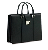 Pineider City Chic Leather 2 Handle Briefcase - Black