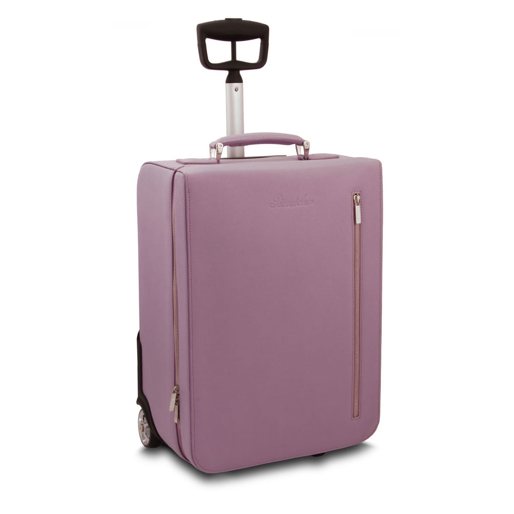 Pineider City Chic Leather Luxury Travel Carry On Luggage Trolley Bag