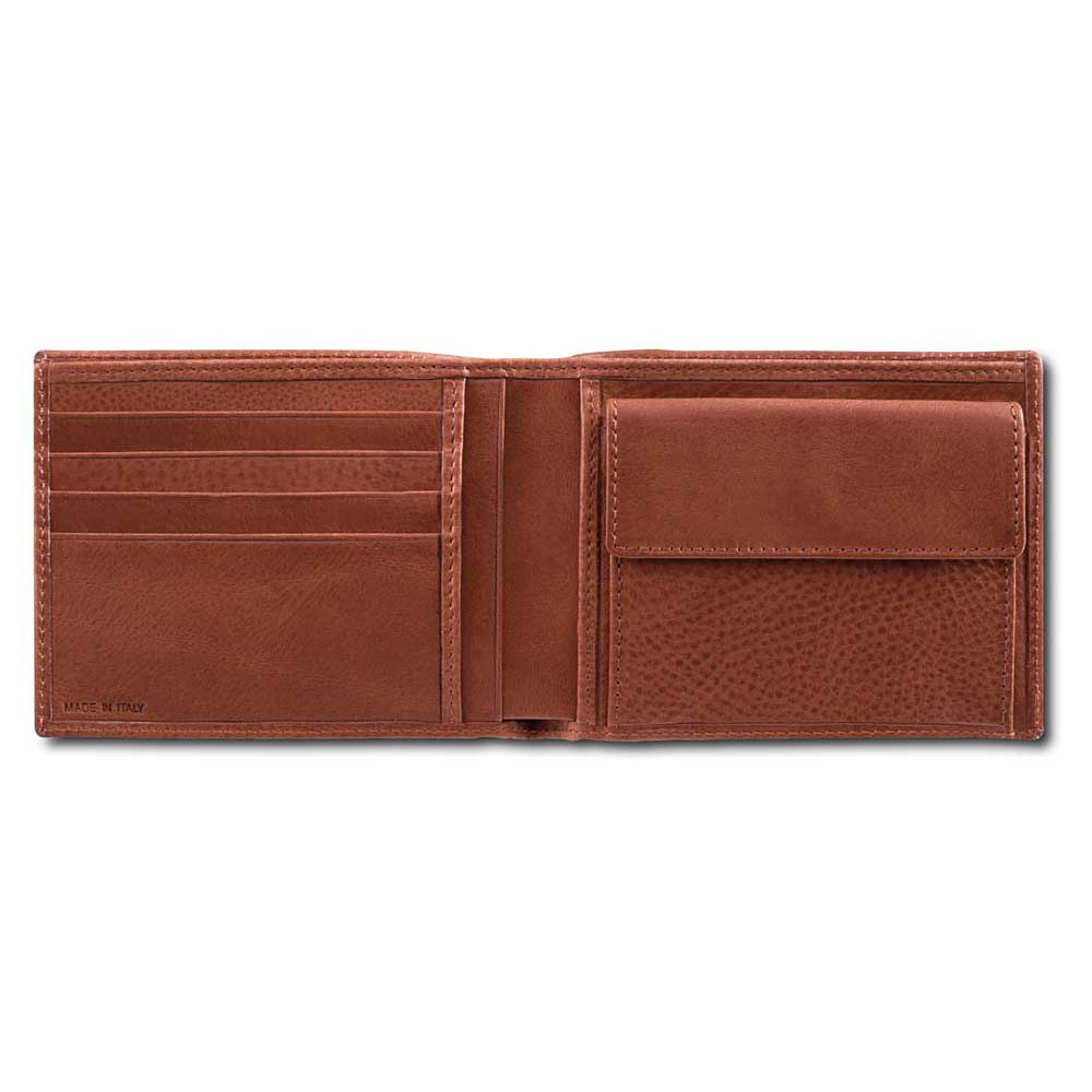 Pineider Country Leather Men S Bi Fold Wallet With Coin Pocket