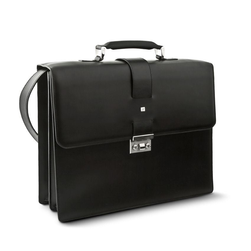 Briefe Case : Pineider milano mens leather briefcase black double gusset