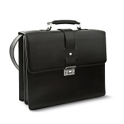 Pineider Milano Leather Briefcase - Double Gusset