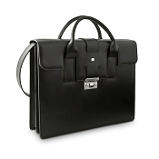 Pineider Milano Leather 2 Handle Briefcase Bag - Double Gusset